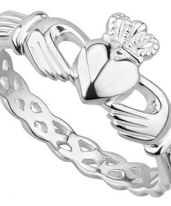 Ladies Silver Claddagh Ring with Woven Band