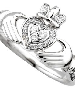 14K White Gold Diamond Claddagh Ring