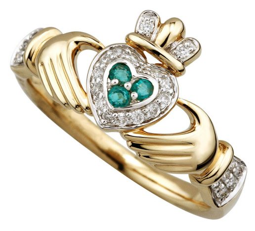 14K Yellow Gold Diamond and Emerald Claddagh Ring