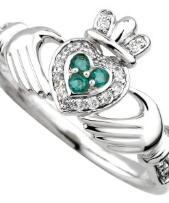 White Gold Diamond and Emerald Claddagh Ring