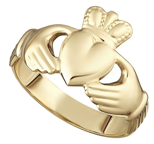 Yellow Gold Hollow Back Men's Claddagh Ring