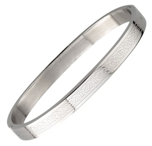 Engraved Celtic Knot Bangle in Stainless Steel