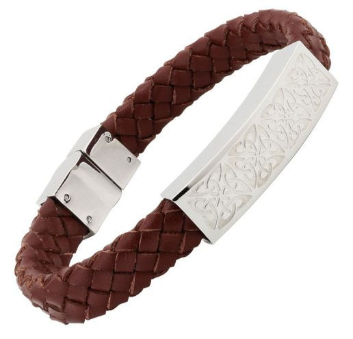 Men's Celtic Brown Leather and Stainless Steel Bracelet