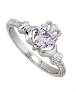 June Birthstone Claddagh Ring