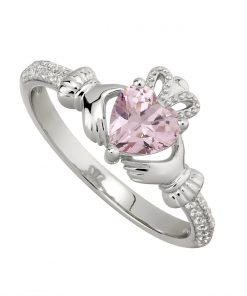 October Birthstone Claddagh Ring – Pink Tourmaline
