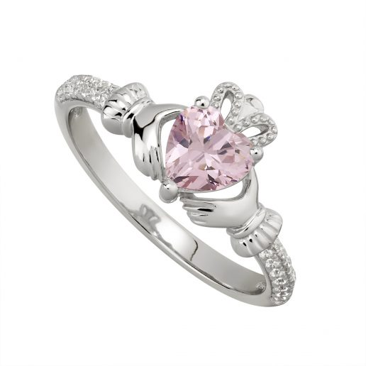 October Birthstone Claddagh Ring – Pink Tourmaline