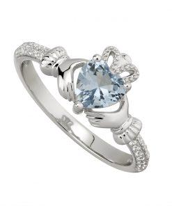 December Birthstone Claddagh Ring – Blue Topaz