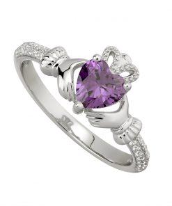 February Birthstone Claddagh Ring – Amethyst