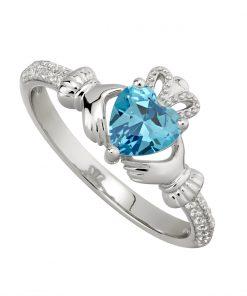 March Birthstone Claddagh Ring – Aquamarine