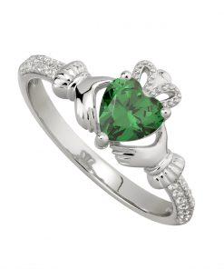 May Birthstone Claddagh Ring – Emerald