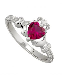 July Birthstone Claddagh Ring – Ruby