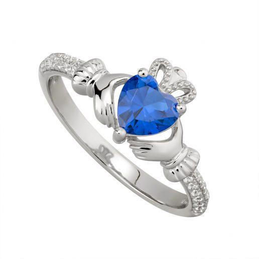 September Birthstone Claddagh Ring – Sapphire